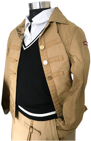 khaki colored cloth jacket